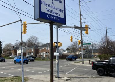 Street Sign for Oshawa Chiropractic & Physiotherapy Wellness Centre in Oshawa 549 King St. Eas