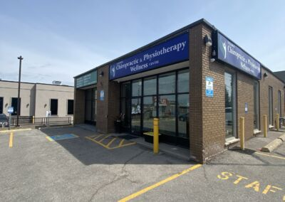 Front of Oshawa Chiropractic & Physiotherapy Wellness Centre in Oshawa 549 King St. East Corner View